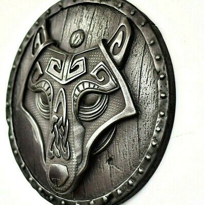 Viking Wolf Fenrir On The Shield  Iron Wall Hanging Norse Celtic Home Decor • 55£