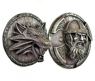 Viking Warrior Fenrir Norse Wolf Shield Axes Iron Wall Mount Sculpture Relief  • 128£