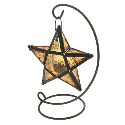 Moroccan Iron Hanging Star Tea Light Candle Holder Lantern Lamp Case Yellow • 18.63$