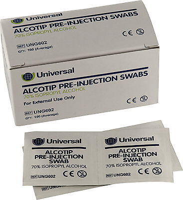 Universal Pre Injection Swabs 70% IPA Alcohol Wipes NHS Grade For Tattoo Nails • 3.79£