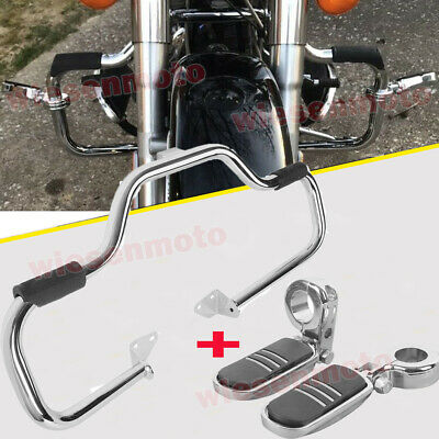 $156.88 • Buy 06-17 Harley Dyna FXDF Mustache Engine Guard Highway Crash Bar+Clamps Foot Pegs