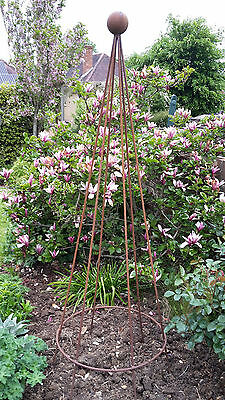 Rusted Steel Metal 2m Sweet Pea Runner Bean Conical Pyramid Garden Plant Support • 54£