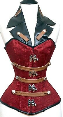 £69 • Buy Red Brocade Steampunk Over Bust Corset Steel Bones Lace Up Back Clasp 2XS~7XL