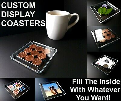 FILL YOUR OWN Custom Coasters! Put Anything Inside! Coffee/Tea/Drink Cup/Mug Mat • 5.99£