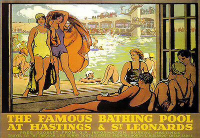 £7.99 • Buy Bathing Pool At Hastings And St Leonards Railway Travel A3 Art Poster Print