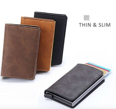 AU10.50 • Buy Leather Credit Card Holder Money Cash Wallet Mens Clip RFID Blocking Purse
