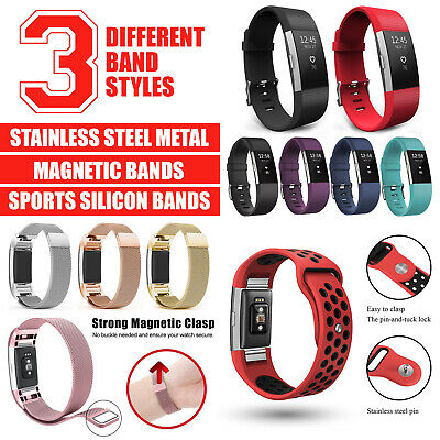AU12.39 • Buy Fitbit Charge 2 Band Replacement Wristband Silicon Sports Watch Strap Metal Lot