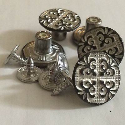 17mm No Sew Hammer Jean Buttons X 4 Antique Copper Silver • 1£