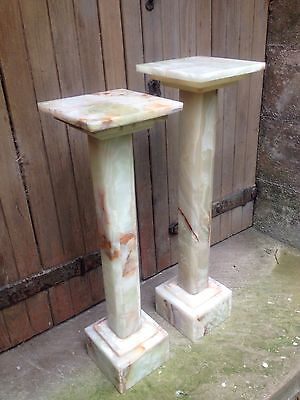 Pair Art Deco Alabaster Column Torchere Jardiniere Marble Church Flower Stand • 799.99£