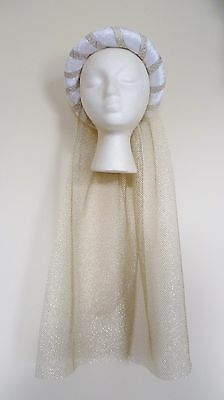 White & Gold Medieval Headdress MADE TO ORDER Gothic Headpiece Pagan Circlet Hat • 18.99£