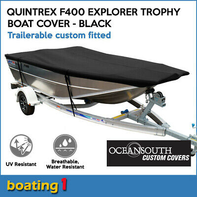 AU189 • Buy Quintrex F400 Explorer Trophy Trailerable Custom Fitted Boat Cover Black
