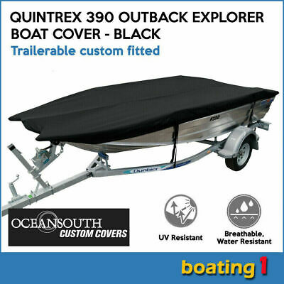 AU169 • Buy Custom Fitted Trailerable Boat Cover For Quintrex 390 Outback Explorer - Black