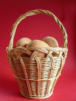 Vintage Country Style Hand Made Handled Wicker Egg Basket Egg Holder Display • 17.50£