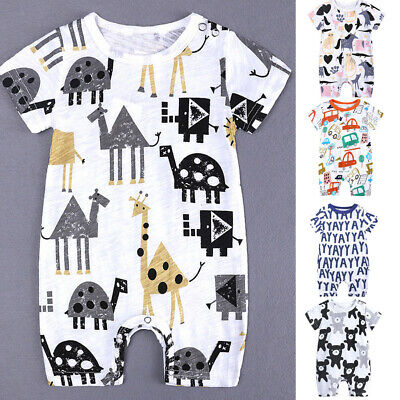 AU13.09 • Buy Toddler Kid Baby Boy Girl Summer Cartoon Print Romper Jumpsuit Outfit Clothes FR