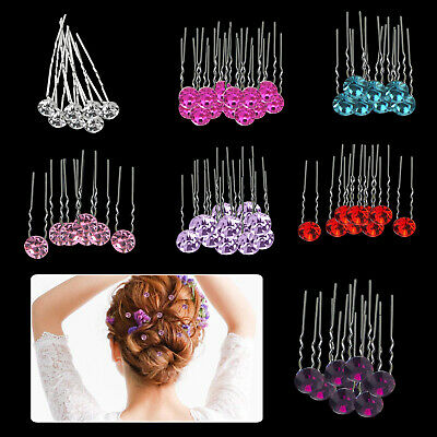 £4.49 • Buy Hair Pins Crystal Diamante Clips Grips Wedding Bridal Jewellery Party Accessory
