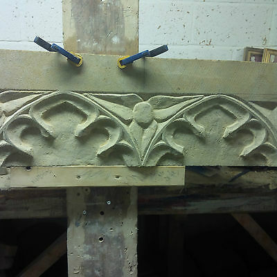 Hand Carved Stone Gothic Tracery / Inglenook Fireplace / Lintel • 290£