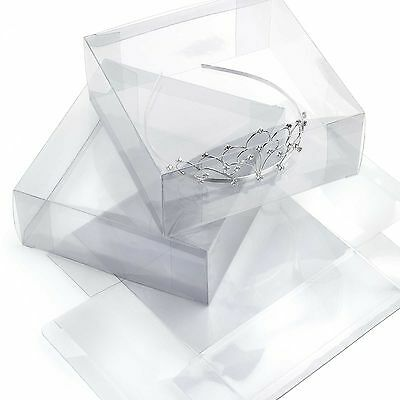 Clear Plastic Tiara Fascinator Presentation Display Boxes * A Choice Of 6 Sizes • 14.50£
