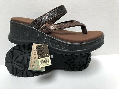 $24.99 • Buy New ROPER Women's BROWN LEATHER THONG TOE PLATFORM WEDGE SANDALS $59 NWT ~ 11