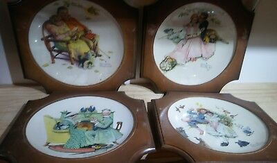 $ CDN32.44 • Buy VINTAGE Norman Rockwell 1971 Gotham Fine China Plate Winter 4 Lot Wooden Frame