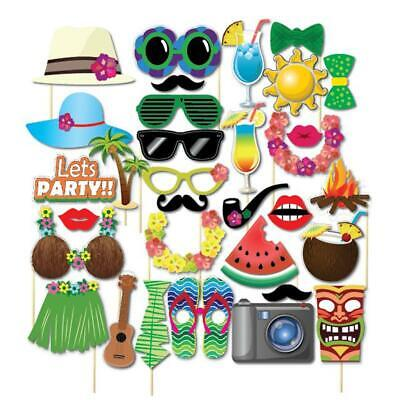 32PCS Selfie Photo Booth Props Hawaiian Luau Tiki Tropical Beach Party Birthday  • 3.66£