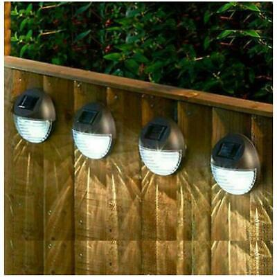 £10.99 • Buy 4 X Led Solar Power Garden Fence Lights Wall Xmas Patio Outdoor Security Lamps
