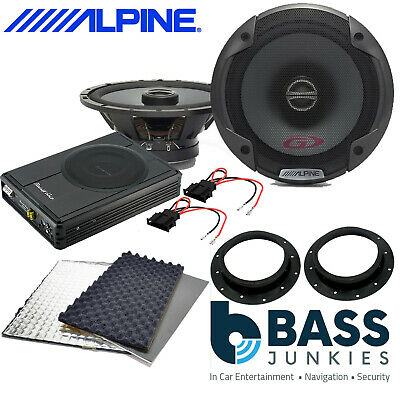 ALPINE PG Front Door Speakers & 300W Underseat Sub & Deadening Kit To Fit VW T6 • 244.99£