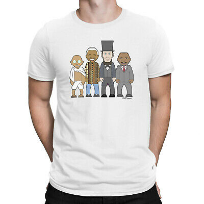 £13.99 • Buy Mens ORGANIC Cotton T-Shirt VIPwees Inspirational Leaders Lincoln Gandhi Luther