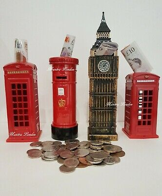UK Souvenirs Big Ben PostBox Kids Children Money Tin Box Piggy Bank Saving Coin  • 8.99£