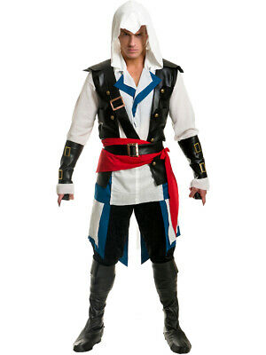 $36.98 • Buy Mens Colonial Assassin Hooded Shirt Faux Leather Arm Guards Vest X-Small