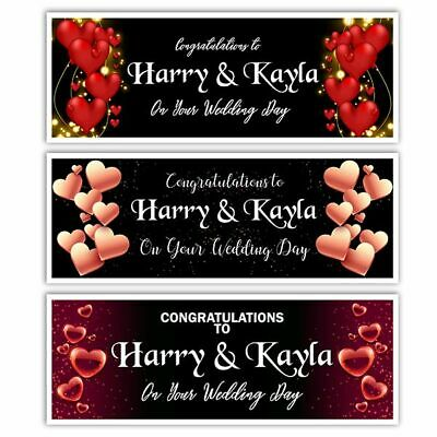 X 2 Personalised Wedding Day Night Engagement Banners Party Wall Decorations • 4.99£