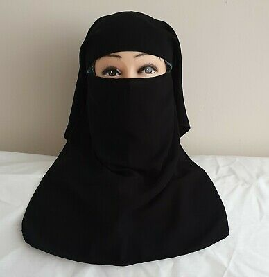 Black DOUBLE Layer  Niqab With Tie Back • 6.99£