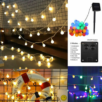 50 LED Solar Powered Garden Party Fairy String Crystal Ball Lights Outdoor • 6.84£