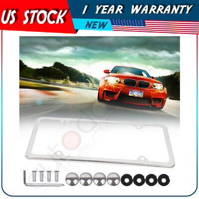 $7.79 • Buy 1x 4 Holes Slim Silver Stainless Steel License Plate Plate Frame W/ Screw Caps