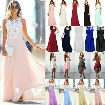 Women Lace Long Dress Evening Party Gown Formal Bridesmaid Wedding Maxi Dresses • 15£