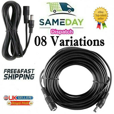 £2.04 • Buy DC Power Supply Extension Cable 12V For CCTV Camera/DVR/PSU Lead 1m/2m/3m/5m/10m