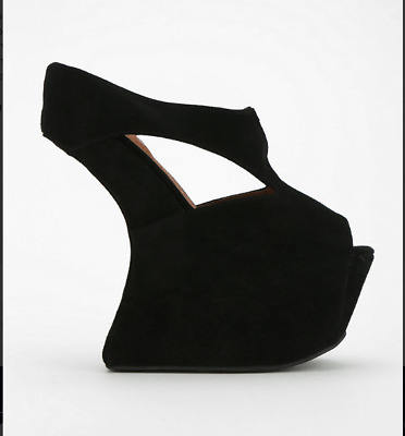 JEFFREY CAMPBELL TONITE LADY GAGA Curved Wedge Platform Suede Shoes 8 M  • 61.91£