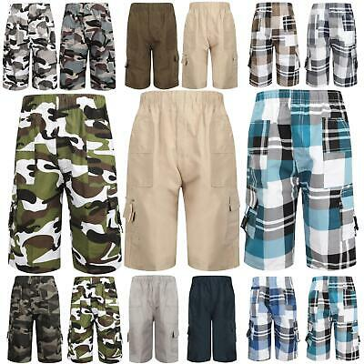 £5.99 • Buy Boys Summer Shorts Camouflage Checked Multipocket ¾ Length Combat Age 3-14 Years