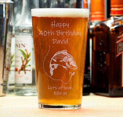 Personalised Birthday Beer Lager Pint Glass 18th 21st 30th 40th Fishing Angler • 8.95£