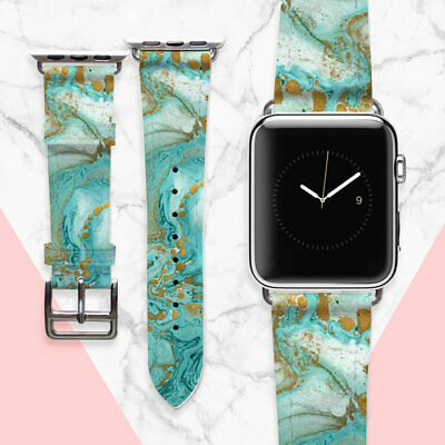 AU49.44 • Buy Emerald Apple Watch 42mm Band Leather Watch Band Green Marble Watch Strap 38 Mm