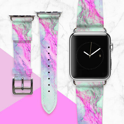 AU49.44 • Buy Pink Marble Apple Watch Strap 42mm IWatch Band Handmade Genuine Leather 38 Mm