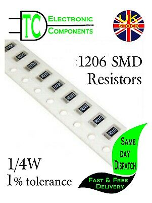 $1.90 • Buy 1206 SMD Resistors 0.25W 1% Full Range Available **UK Seller** Same Day Dispatch