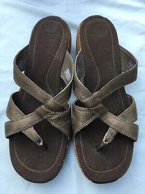 $34.99 • Buy New Womens Merrell Sundial Cross Antique Brass Brown Leather Sandals Shoes Sz.10
