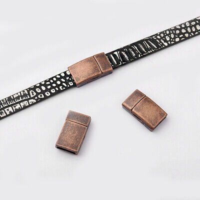 5sets Antique Copper Flat Magnetic Clasp For 10*2mm Leather Cord Bracelet Making • 3.79£