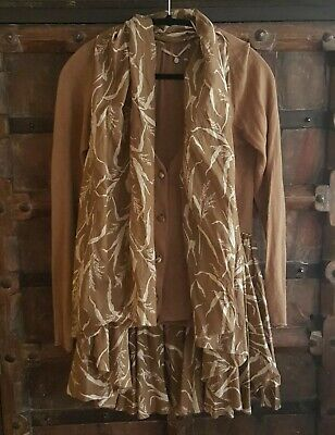 $ CDN40 • Buy Anthropologie Knitted & Knotted Tan Brown Ruffled Wheat Print Cardigan & Wrap  S