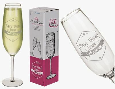 £9.95 • Buy Save Water Drink Prosecco Large Novelty Wine Glass Champagne Flute New And Boxed