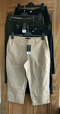 Dorothy Perkins New Black Beige Khaki Green Navy Canvas Cropped Trousers 6-12 • 9.99£