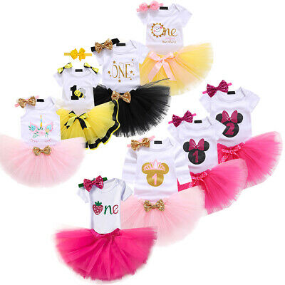 AU8.41 • Buy Unicorn Baby Girl 1st Birthday Outfit Tutu Dress 3pcs Cake Smash For One Year