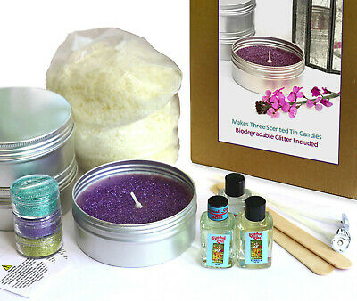 CANDLE MAKING KIT Inc BIODEGRADABLE GLITTER  Scented Eco Soy Wax Tin Candles  KV • 17.99£