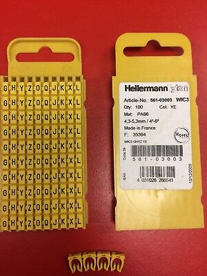 £5.50 • Buy Hellermann Tyton 561-03003 Snap On Cable Markers Qty 100
