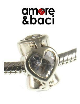 Genuine AMORE & BACI 925 Sterling Silver & CZ LOVE HEART Spacer Charm Bead • 17.99£